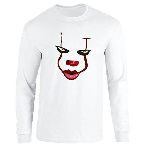 Pop Threads Clown Face Horror Halloween Scary White XL Long Sleeve T-Shirt -