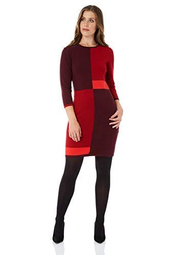 - Roman Originals Women Colour Block Knitted Midi Dress - Red 16