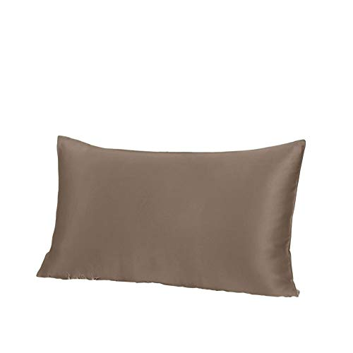 THXSILK 19 Momme Mulberry Silk Pillowcase for Hair and Skin-Pure Natural Silk on Both Sides,Pillow Cover with Envelope Closure, Hypoallergenic- Standard Size, Coffee ()