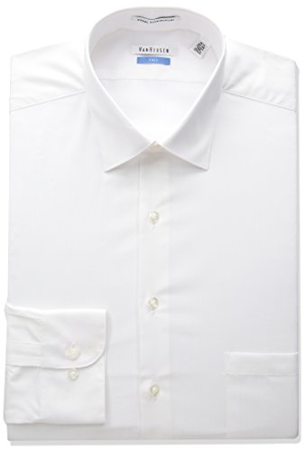 Van Heusen Men's FIT Dress Shirts Herringbone Solid (Big and Tall), White, 17.5