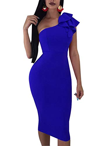 Women\'s Sexy One Shoulder Bodycon Dress Summer Sleeveless Mini Dress Plus Size