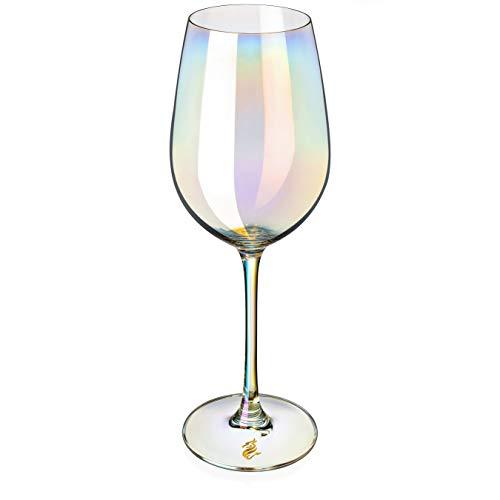 Dragon Glassware Large Crystal Wine Glasses, Stemmed Iridescent Lead-Free, For Wedding, Holidays, White Wine Tasting…