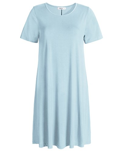 Esenchel Women's Swing T-Shirt Dress Short Sleeve Casual Dress XL Sky Blue