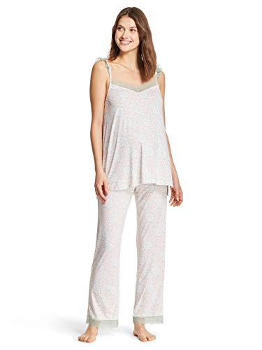 - Nanette Lepore WomensMaternity Lace Trim Tank Top and Lounge Pants Pajama Set Sage Small