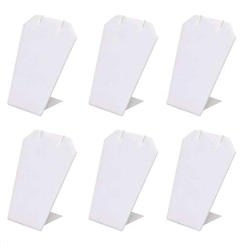 (Mooca 6 Pcs Set Earring Chain Necklace Jewelry Display Stand, White Faux Leather)