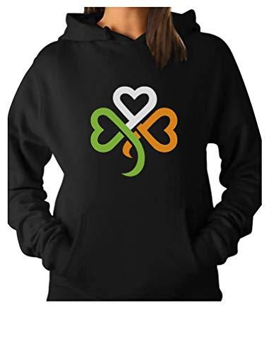 Shamrock Sweatshirt - TeeStars - Shamrock Ireland Clover Hearts for St. Patrick's Day Women Hoodie XX-Large Black