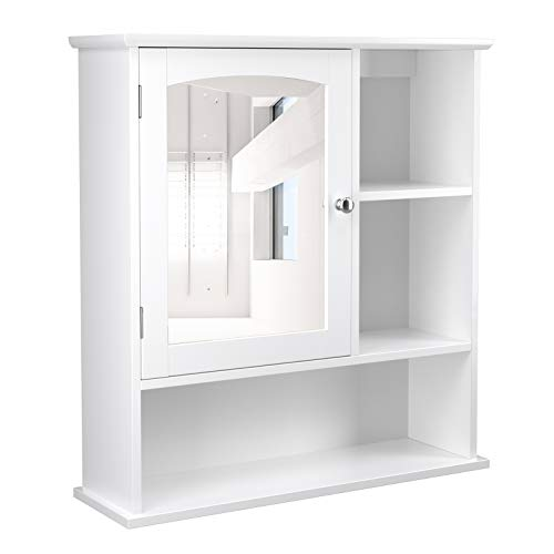 VASAGLE Mirror Cabinet, Medicine Cabinet with Adjustable Shelf and 3 Open Compartments, -