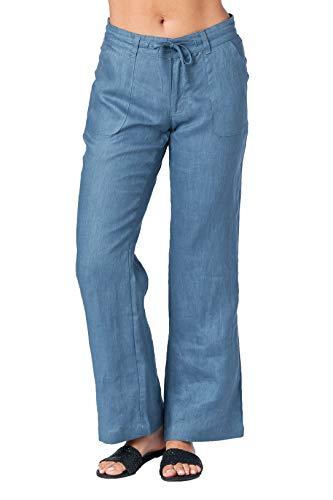 (Mariyaab Women's Button Closure Wide Leg 100% Linen Pants with Drawstring Waist (004A, DenimBlue, 18))
