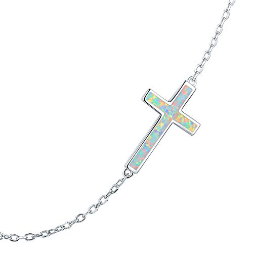 PRAYMOS 925 Sterling Silver Sideways Cross Necklace for Women Synthetic Opal Dainty Necklace 18in Silver Chain and 2in Adjustable Extender Stocking ()