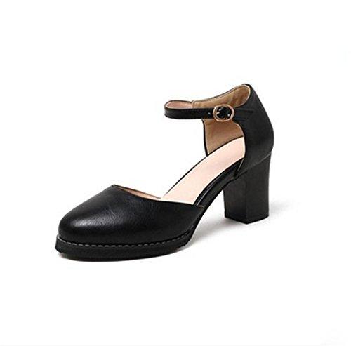 pengweiIl tondo di estate con i sandali di spessore gli alti talloni delle signore insacceranno i pattini singoli delle scarpe Baotou