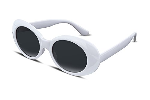 FEISEDY Candy Retro Acetate White Frame Clout Goggles Kurt Cobain Sunglasses - White Oval Sunglasses