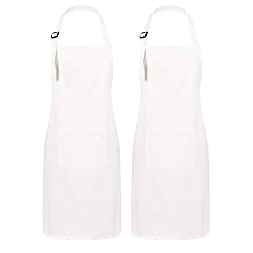(Sevenstars 2 Pack 100% Cotton Cooking Aprons with Pockets, White Kitchen Aprons Adjustable Baking Aprons for Men Women Couple Chef)