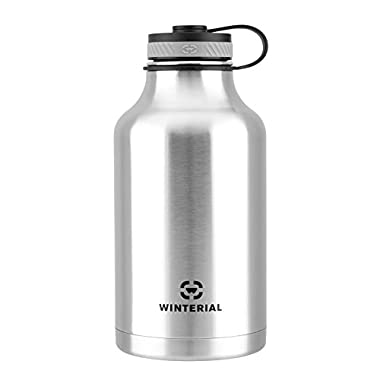 Winterial 64 Oz Insulated Water Bottle Wide Mouth Beer Growler (Stainless Steel)