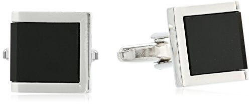 - Stacy Adams Men's Square with Jet Acrylic Inlay Open End Cuff Link and Tie Bar Set, Gold/black, One Size