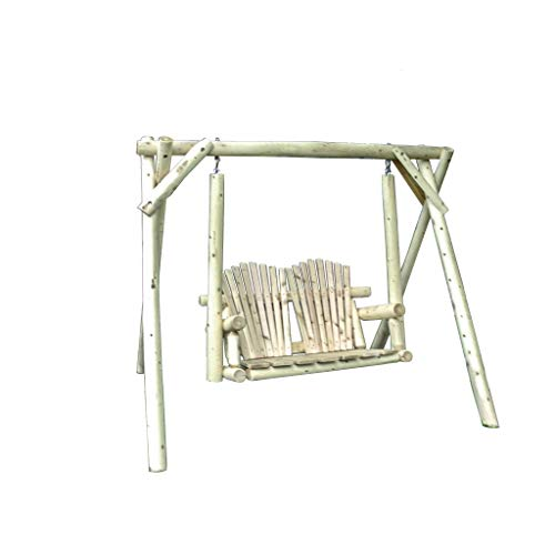 Kunkle Holdings LLC Rustic White Cedar Log Swing and A-Frame -Amish Made in The USA 5 Foot