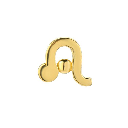 14k Fine Yellow Gold High Polish Trendy Leo Zodiac Post Single Earring (Zodiac 14k Earrings)