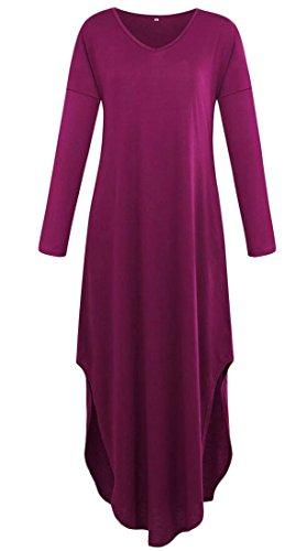 Domple Femmes Fente Côté Mode Tunique À Manches Longues Simples Poches Maxi Robe Longue Violette