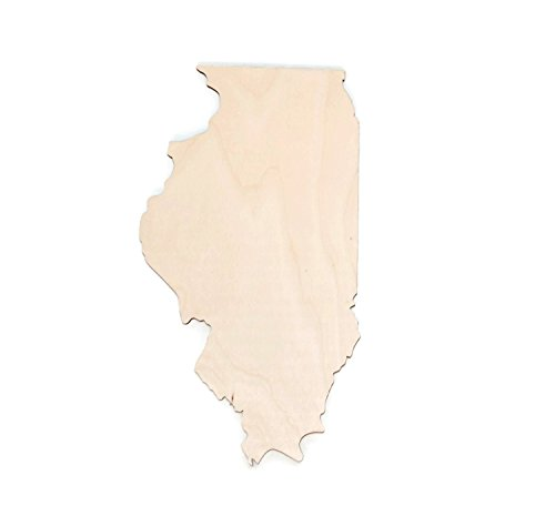 "Gocutouts Illinois 12"" State Cutout Unfinished Wood/Wooden Baltic Birch 1/4"" Cutout DIY Home Decor USA Made (Illinois)"