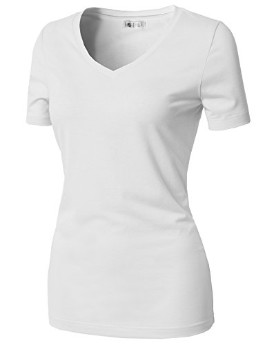Womens Loose Short Sleeve Cotton T-Shirt White - 8