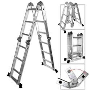 Light Weight Multi-Purpose 12' Aluminum Ladder - 300 LB Capacity