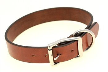 """Orion Leather 1 1/2"""" Q-Tan Bridle Leather Dog Collar For L and XL Breeds Stainless Steel Buckle And D-Ring Heavy Duty"""