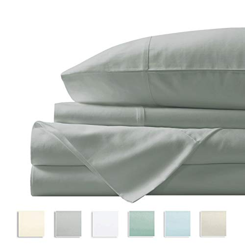 "Pizuna 400 Thread Count Queen Cotton Sheets Set Light Grey, 100% Long Staple Cotton Soft Sateen Bed Sheets Deep Pockets fit Upto 17"" (100 Cotton Sheets Queen Gray) - Long Lightweight 100% Cotton"