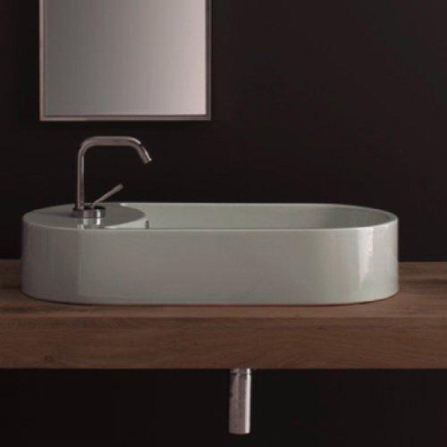 Scarabeo 8094-One Hole-637509857004 Ceramic Porcelain Washbasin Vessel, White