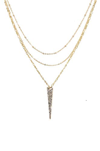 Ettika Layered Crystal Spike Necklace in Gold - Spike Layered