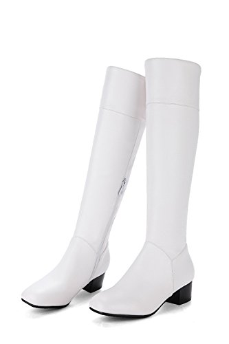 Zip Balamasa Womens Knee Robusti Abl10553 Uretano high Stivali Bianco Tacchi Di Solid r6AdIqZw6