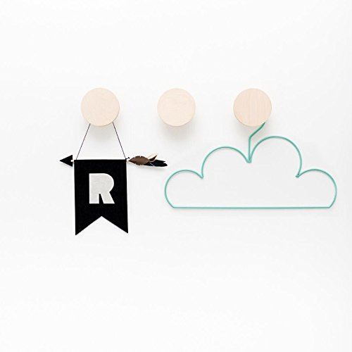 Katoot@ Round Nordic Style Wooden Storage Hooks 3Pcs/Set Clothes Cap Hanger Jewelry Organizer Rack Home Kids Room Wall Decoration Gifts