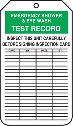 Accuform Signs MGT207CTP Inspection Record Tag, Legend EMERGENCY SHOWER & EYE WASH TEST RECORD, 5.75
