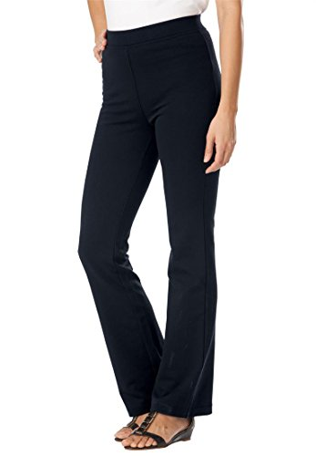 Women's Plus Size Tall Pants, Boot-Cut In Ponte Knit Black,2