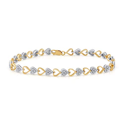 1/5 Carat Natural Diamond Bracelet 10K Yellow Gold and White Gold (H-I Color, I2-I3 Clarity) Heart Shape Diamond Bracelet for Women Diamond Jewelry Gifts for Women