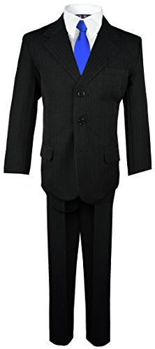 - Boys Pinstripe Suit with Matching Tie Size 2-20 (16, Black with Blue Tie)