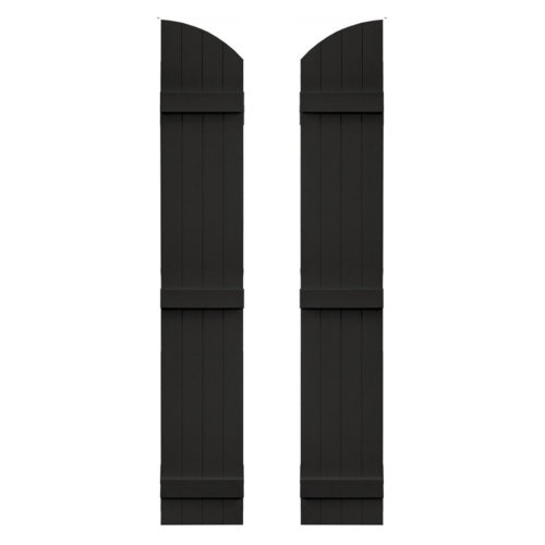14 in. x 77 in. Board-N-Batten Shutters Pair, Four Boards Joined with Arch Top #002 Black - Shutters 002 Black Builders Edge