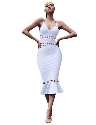 Maketina Hollow Bodycon Women Mermaid Out Bandage Evening Dress White Strappy rwrq1OH