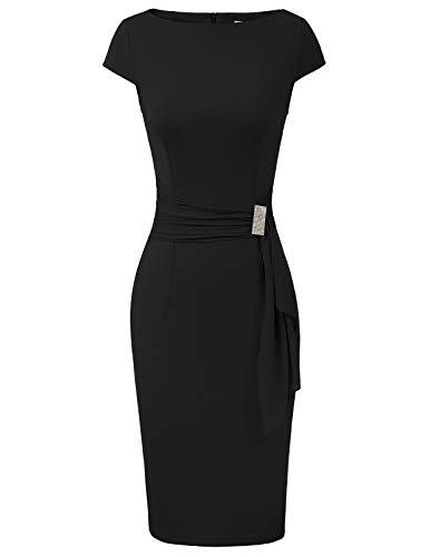 - Women's 50s Vintage Draped Cap Sleeve Bodycon Cocktail Pencil Dress XL Black