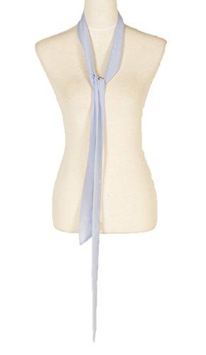 Chiffon Sash (plain, Solid color, Summer skinny scarf, narrow fashion scarf (Blue2))
