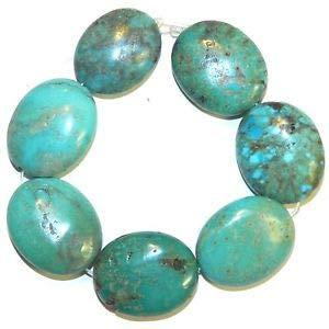 T1519fi Blue-Green Turquoise 27mm Polished Puffed Flat Oval Gemstone Beads 8