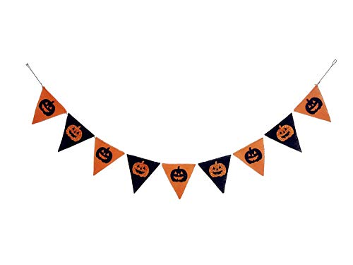 Seasons Treasure 6ft Handmade Burlap Halloween Decoration Banner Garland with 9 pcs Pumpkin Face Banner for Halloween Decor Pumpkin