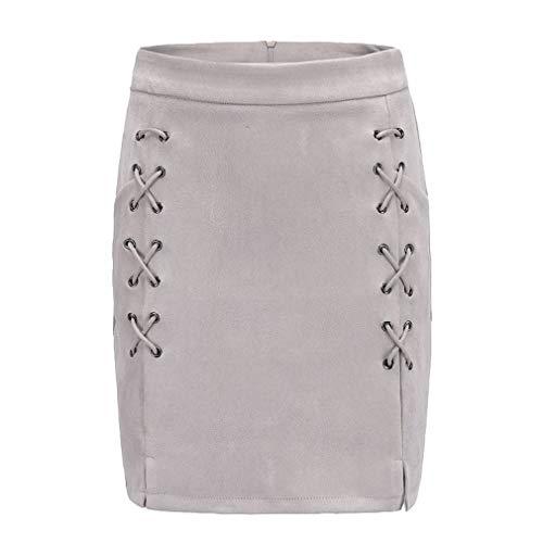 YiyiLai Jupe Crayon Femme Faux Cuir Couleur Uni Zip Soire Crmonie Mariage Bureau Mode Gris