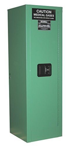 SECURALL MG104P Medical Gas Cylinder Storage Cabinet, 18-Gauge Gal. Steel, 2-Door, 44 x 14 x 13 5/8 in, 2-4 D,E Cylinder Capacity, 15 YR WARRANTY - MG Green ... ()