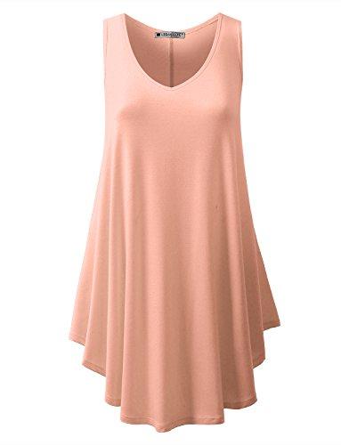 URBANCLEO Womens V-Neck Sleeveless Tunic Top T-Shirt Dress Peach Small