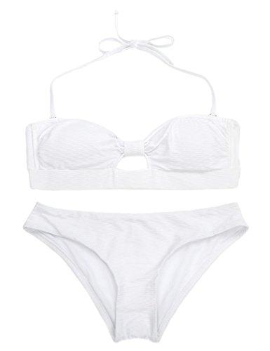 RELLECIGA bañador bandeau de dos piezas peekaboo look Blanco
