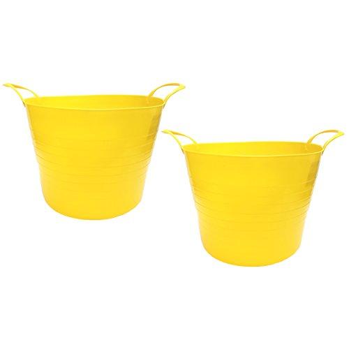 (Starplast 7 Gallon Round Flex Tub, Yellow, 2 Pack)