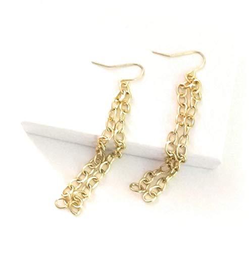 (Long Sweep Chain Earrings Shoulder Length 3 Inch)