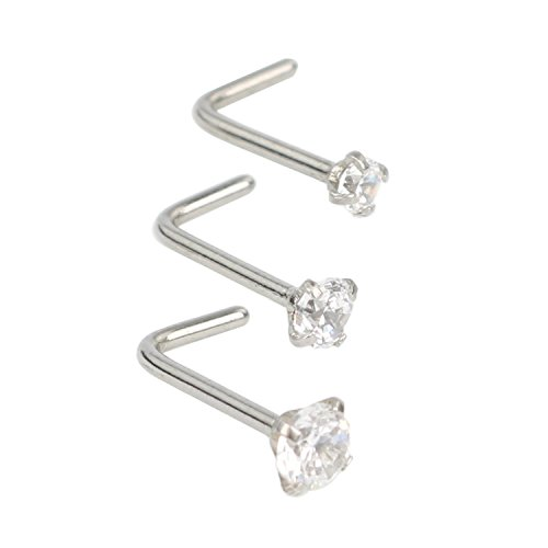 Zifoan 3 Pcs Stainless Steel Nose Rings Studs 20 Gauge L Shaped Curved Nose Piercing Jewelry 2mm 2.5mm 3mm Diamond CZ Nose Stud L Bend for Women Girl Piercing - Steel (Piercing Diamond Nose)