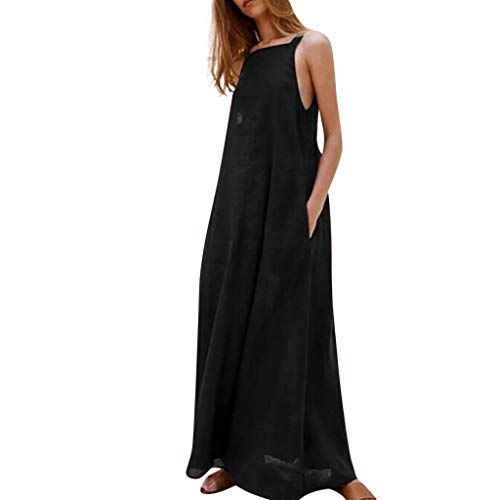 Chelsea Girl Pants - Londony✔ Women's Sleeveless Racerback and Loose Plain Maxi Dresses Casual Long Dresses Strap Dress with Pockets Black