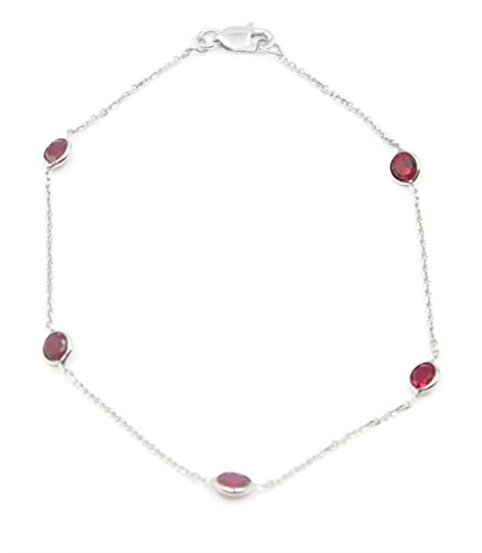 Garnet Gemstone Bracelet ,14k White Gold 7