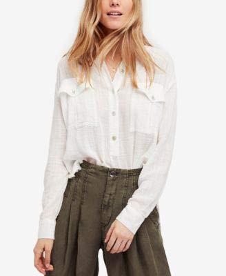 Free People Womens Crinkled Frayed Hem T-Shirt Ivory S ()